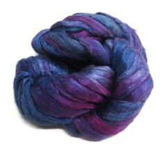 Mulberry Silk roving, hand dyed purple/blue by DivinityFibers on Etsy https://www.etsy.com/listing/198207563/mulberry-silk-roving-hand-dyed