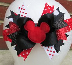 Mickey Mouse over the top disney hair bow boutique headband cute summer holiday vacation felt clippies