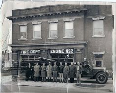 1918 American LaFrance ladder truck at fire station No2 located at 13Th and Hutchins Ave, Columbus IN