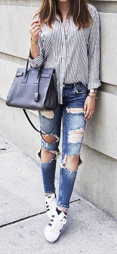 A Striped Button-Front Shirt, Distressed Jeans, and Sneakers