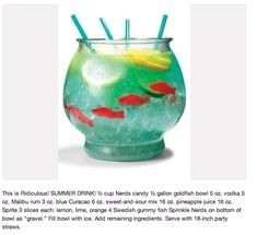"cute summer drink.  Ok, You could tweak the ingredients as long as you keep the Blue Curacao... I like the nerds ""gravel"" and swedish fish in a fish bowl idea."