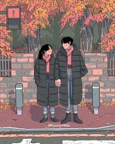 Cute Couple Drawings, Cute Couple Art, Anime Love Couple, Couple Cartoon, Aesthetic Anime, Aesthetic Art, Couple Illustration, Illustration Art, Illustrations