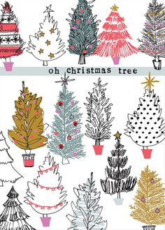 print pattern, greeting card, drawing, festive, illustration, oh christmas tree, lettering, type, design, print