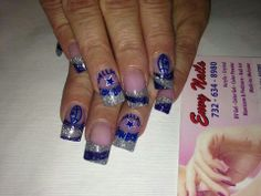 Dallas Cowboys Nail Designs, Dallas Cowboys Nails, Football Nails, Toe Nail Art, Toe Nails, Acrylic Nail Designs, Acrylic Nails, Cowboy Nails, Great Nails