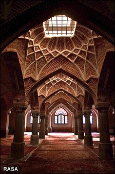 Sadeqie Historical Mosque in Tabriz, Iran. The traditional Tabriz rugs are not missing. of course! A As Architecture, Persian Architecture, Beautiful Architecture, Voyage Iran, Iran Tourism, Iran Pictures, The Shah Of Iran, Shiraz Iran, Teheran
