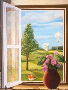 Trompe-l'œil///Climb out that window and wonder off into that spring day. Note by Roger Carrier