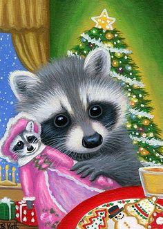 Raccoon doll Christmas tree snow cookies presents original aceo painting art #Miniature