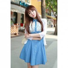 $11.25 Bow Tie Sweet Style Lace Splicing Denim Lapel Collar Short Sleeves Dress For Women