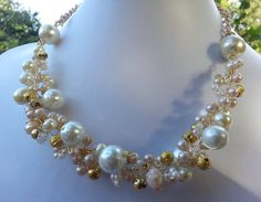 Handmade Multistrand Bib Necklace with Gold by JewelleryWithCare