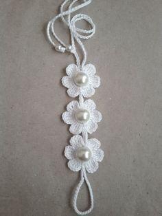 Bridal White Flower Barefoot Sandals Crochet by SirikHandmade