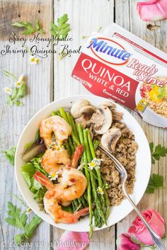 Pair some spicy honey garlic shrimp and roasted veggies with Minute Ready to Serve White & Red Quinoa. It's a spin on a traditional rice bowl and is sure to win over you friends and family. AD http://cookingwithawallflower.com/2017/07/19/spicy-honey-garlic-shrimp-quinoa-bowl/