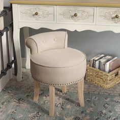Small Accent Chairs For Living Room Refferal: 6348348869 Farmhouse Vanity, Farmhouse Dining Chairs, Small Living Room Chairs, Small Accent Chairs, Upholstered Swivel Chairs, Ottoman Stool, Vanity Stool, Vanity Chairs, Small Stool