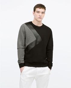 SWEATSHIRT WITH FAUX LEATHER DETAIL