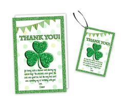 Get the charming St Patricks Day Shamrock Thank You Cards you've been looking for, for your Shamrock birthday party, featuring a faux green