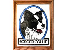 Border Collie Hand Painted Stained Glass Art