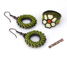 Green Beaded Earrings and ring