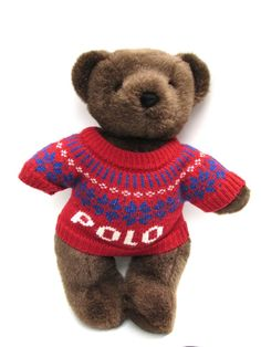 Ralph Lauren Polo Sweater Plush Stuffed Teddy Bear Jointed Legs 2000 Ski Holiday #Polo