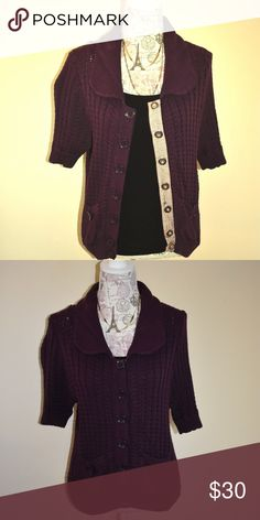Purple Marc Jacobs Sweater Plum/Dark Purple colored sweater. 2 pockets, snap button detail. As is condition. No piling. Gently used. Marc By Marc Jacobs Sweaters Cardigans