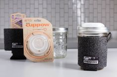 The Complete Cuppow Glass Travel Mug - Cuppow & Jar & Coozie - Wide Mouth - 16oz