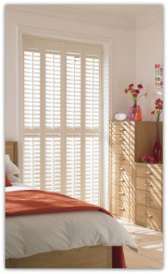 Full length plantation wooden shutters on a bedroom window. Wooden Window Blinds, Wooden Shutters, Window Shutters, Blinds For Windows, Types Of Shutters, White Shutters, Bedroom Shutters, Interior Shutters, Shutter Blinds