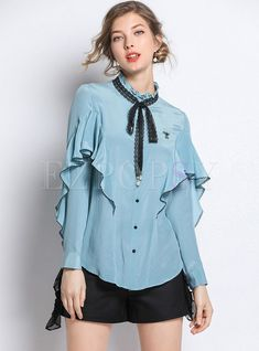 Womens Fashion - Shop Color-blocked Embroidered Ruffled Collar Single-breasted Falbala Blouse at EZPOPSY. Sleeves Designs For Dresses, Formal Dresses With Sleeves, Dress Design Sketches, Fashion Design Sketches, Kurta Designs, Blouse Designs, Dress Designs, Elegant Outfit, Classy Dress