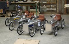 Henk Vos asked fellow Dutch designer Piet Hein Eek to make some pedal cars for his grandkids to race. After a year, they came up with t. Soap Box Cars, Soap Boxes, Pedal Tractor, Pedal Cars, Mini Jeep, Mini Bike, Rent Studio, Miniature Cars, Kids Bicycle