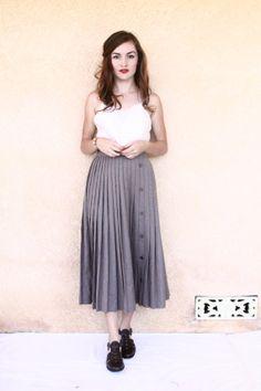 taupe pleated skirt / wool midi skirt  medium  by aLaPlageVintage, $41.00