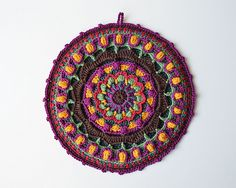 Ravelry: Kaleidoscope Mandala Potholder pattern by Lilla Björn Crochet - bag also available. Great pattern to learn overlay crochet which she describes thoroughly