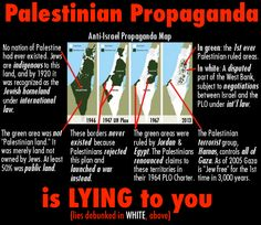 "Palestinian propagandists have been spreading a map purporting to show how Jewish self-determination has resulted in ""shrinking Palestine"". That map, like most if not all of Palestinian propaganda, is a lie. See why. Know the truth. Share it."