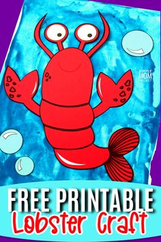 Free Printable Ocean Animal Lobster Crafts for kids of all ages, including preschoolers and toddlers Sea Creatures Crafts, Sea Animal Crafts, Animal Crafts For Kids, Easy Preschool Crafts, Fall Preschool, Craft Activities For Kids, Toddler Activities, Kids Crafts, Sun Crafts