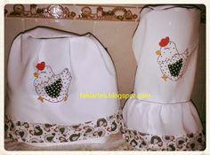 """""""TakiArtes""""     Artes em tecido, crochê e muito mais!!!: kit para cozinha branco de galinha!"""