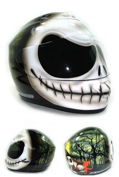 Jack Skellington Custom Motorcycle Helmet by DBcustoms