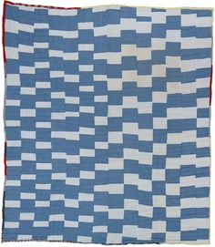 "Essie B. Pettway (b. 1956). Two-sided quilt: Blocks [previous image] and ""One patch"" (stacked squares and rectangles) [below]. 1973. Cotton, polyester knit, denim. 88 X 80 i"