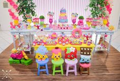 Birthday Party Decorations, Party Themes, 8th Birthday, Birthday Parties, Shopkins Bday, Alice, Candy Table, Candyland, Princess Peach