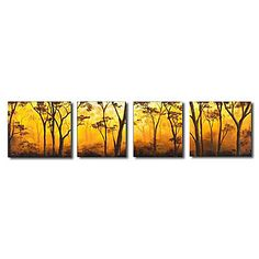 Peinture à l'huile réalisée à la main de paysage sur canevas tendu - Set de 4 - USD $ 99.99