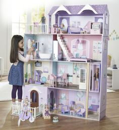 This amazing wooden Imaginarium Grand Holiday Villa Dollhouse, exclusively from Toys'R'Us, features 4 levels of play and 34 furniture accessories. With 6 rooms, Dreamhouse Barbie, Barbie Doll House, Barbie Dream House, Barbie Dolls, Mansion Designs, Doll House Plans, Toy House, Diy Cardboard, Barbie Furniture