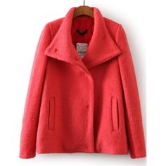 Rose Red Long Sleeve Buttons Pockets Woolen Coat | pariscoming