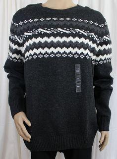 Grey Fairisle Crewneck Men's Mountain Sweater Sonoma Life + Style 2XL Wool Blend #Sonoma #Crewneck