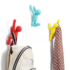 Buy Umbra Buddy Hooks - Assorted Colours from our Coat Hooks range at Red Candy, home of quirky decor. Coat Hooks, Coat Hanger, Wall Hanger, Wall Hooks, Gift Fair, Diy Design, Online Gift Store, Storage Hooks, Hallway Storage