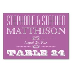 Radiant Orchid Wedding Reception Names Table Cards