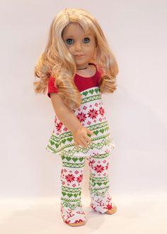 American Girl doll sized Christmas pajamas   by EverydayDollwear