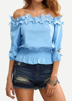 On Sale ! 2016 New Fashion Women e Fashion Solid Lacework Off-Shoulder Top Slim Fit Sheathy Blouses White/Pink/Blue S/M/L/XL