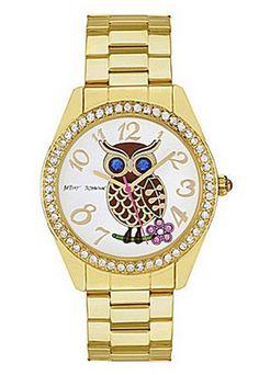 Cute Betsey Johnson Gold Owl Watch