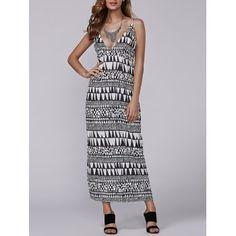 Late Summer Aztec Geometry Print Empire Waist Maxi Dress