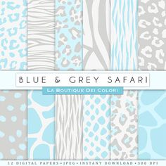 Blue and Grey Animal prints digital paper. Safari Scrapbook paper pack. tiger skin, leopard dots, zebra stripes backgrounds patterns for commercial use clipart