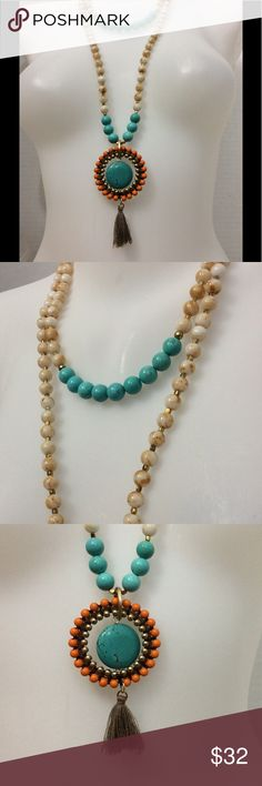 Turquoise tassel long necklace new All stones with gold accent. 48 inches long. Free People Jewelry Necklaces
