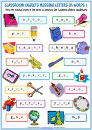 Classroom Objects Missing Letters In Words Exercise Handouts