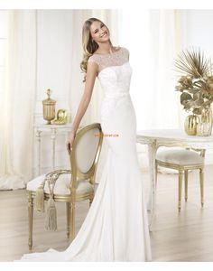 Traîne moyenne Printemps 2014 Satin Stretch Robes de mariée 2014