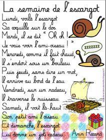 """JOURS DE LA SEMAINE  """"La semaine de l'escargot"""" viikonpäivät loru"""