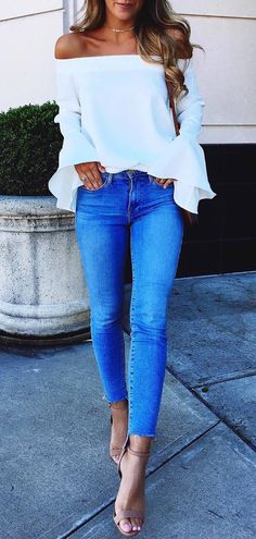 ootd off shoulder top + jeans + heels